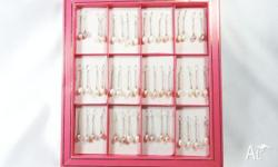 24 Pairs of Long Chain Fresh Water Pearls Earrings w/