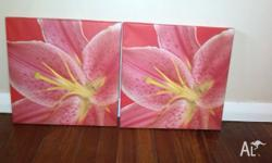 2 flower canvases for $10 or $5 each sold