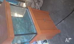 2 foot fish tank with hood and stand.. Fluro light,