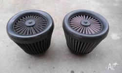 2 K & N HIGH FLOW 3 INCH XTREAM AIR FILTERS IN GOOD