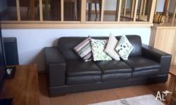 Two chocolate brown leather sofas in excellent