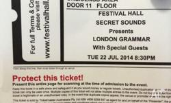 2 London Grammar General admission tickets in the