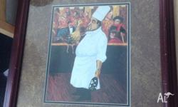 Authentic framed New Orleans Louisiana chef painting -