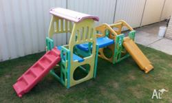 2 Playgyms/Cubby/Climbers with Sprinkler Bar & 3 Slide