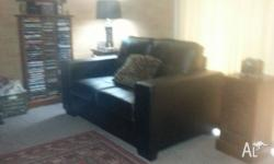 BROWN LEATHER LOOK ALIKE TWO SEATER SOFA. IN EXCELLENT