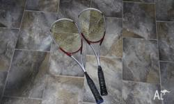 For sale is two squash rackets, Head 2i.18x, a bit of