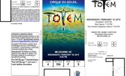 Available for sale, 2 x Cirque Du Soleil Tickets at