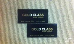 2 x Gold Class Village Cinema Tickets for sale.
