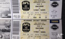 2 x good Hawthorn vs Swans tickets for game at the MCG