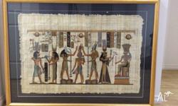 2 x Hand Painted Gold Framed Egyptian Papyrus Papyrus