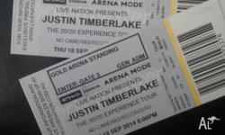 2 x Justin Timberlake Tickets, Thursday 18th September