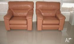 2 x leather armchairs. Good condition.