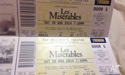 OPEN TO OFFERS!! 2 x Les Miserables tickets for 7:30 pm