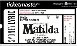 2 x tickets to Matilda The Musical at Sydney Lyric on