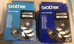 2 x new Brother Black ink cartridges - LC47BK - genuine