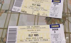 2 x Olly Murs tickets for sale for his Melbourne show