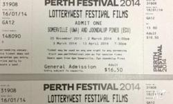 I have two tickets to Somerville/Lotterywest Movies at