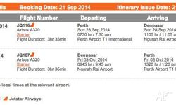 I've got two Jetstar return tickets from Perth to Bali