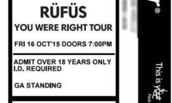 2x Adult GA tickets for Rufus at The Tivoli in Brisbane