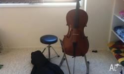 3/4 Cello in great condition. Bag, bow, stool and stand