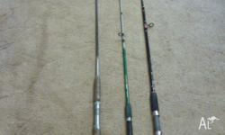 "3 Boat Fishing Rods 2 x 6ft 1 x 6ft 6"" the 2 6 fts. are"
