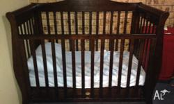 3 in 1 Sleigh Cot with bottom drawer Can be a cot,