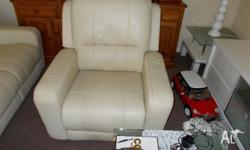 Bone in colour, 2 recliners and a 3 seater couch,