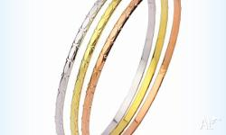 Classic bangles with a striking etching encircling each