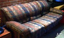 GOOD CONDITION MULTI COLORED SOFA BED LOUNGE AND 1