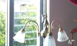 Beautiful Antique style brass light fittings x 3