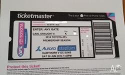3 Tickets to Hawthorn v Gold Coast Suns SAT 28 June