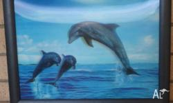 3D Dolphin Framed Picture - Size 45cm x 35xm 3D Dolphin