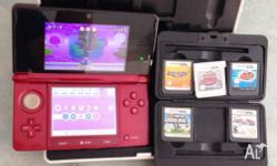 For sale RED 3DS Console + 6 Games and charger. Games