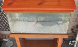 3ft fish tank. Used. Good condition. Varnished pine