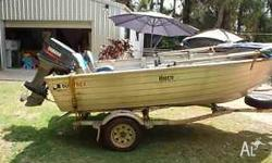 Quintrex 4.2m Wide Body Dory for sale. 2002 two stroke,