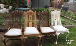 4 Antique dining chairs for restoration, one stripped