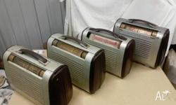 4 Phillips Portable Radios. All built around the 1950s