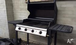 Hooded 4 burner BBQ with cover, gas bottle (as is) and