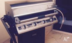 Natural gas 4 burner cordon Bleu BBQ with wok burner in