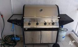 4 Burner Stainless Stell BBQ on cabinet with side Wok