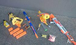 "We're selling these 4 nerf guns + an extra gun ""The"