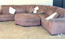 4 PIece Modular Lounge Suite that clips together. Suede