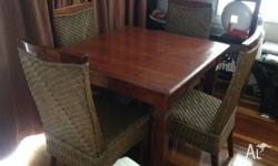 Selling our 5 pce wicker dining table and chairs All in