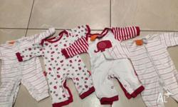 4 prem sized Pumpkin Patch sleep suits. From a pet free
