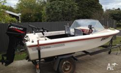 4 metre fibreglass boat powered by 30hp Mercury. Goes