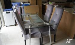 For sale is my 4 Suede Chairs in Silver and a 4 seater
