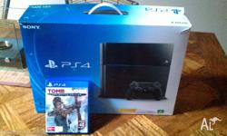 Hardly used PS4 with Tomb Raider. Excellent condition,
