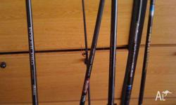 5 rods and 4 reels + Plano Tacklebox 1. New Okuma Solid
