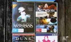 Five [5] movies on 4 DVDs and 1 VHS including Dune;
