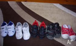 UP FOR SALE ARE 5 PAIRS OF BOYS SHOES SOME HAVE BEEN